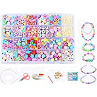 Children DIY Beads Set,Bracelet Bead Art & Jewellery-Making,Bead String Making Set,24 Different Types and Shapes Colorful Acrylic DIY(color 6#)