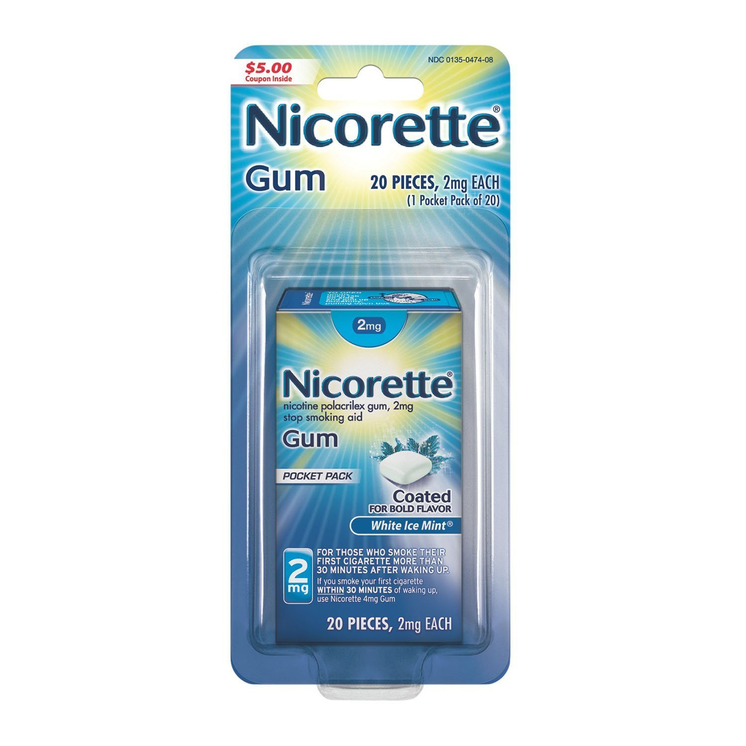 Nicorette Nicotine Gum, Stop Smoking Aid, 2mg, White Ice Mint Flavor, 20 count