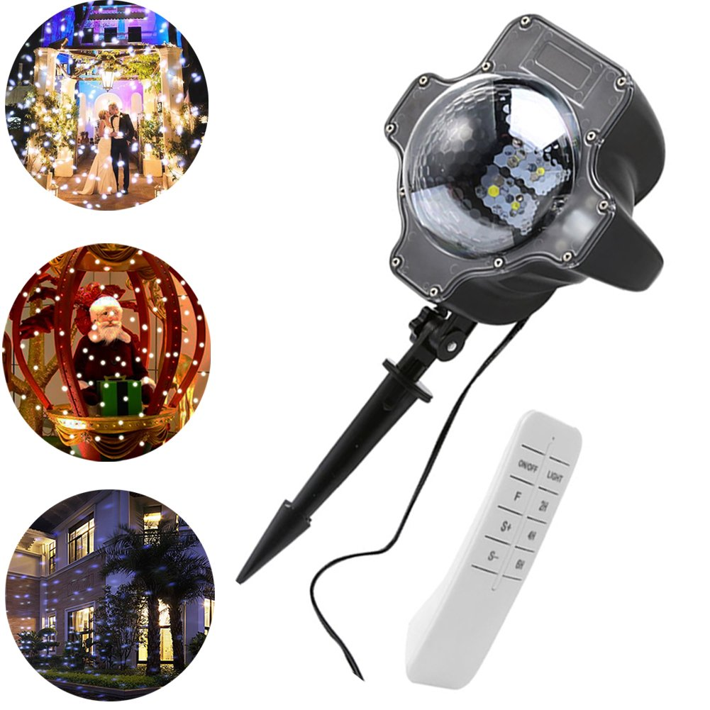 Egoelife Snowfall Projector Light Spotlight Snow Lamp Waterproof Decorative for Christmas Outdoors Indoors with Remote