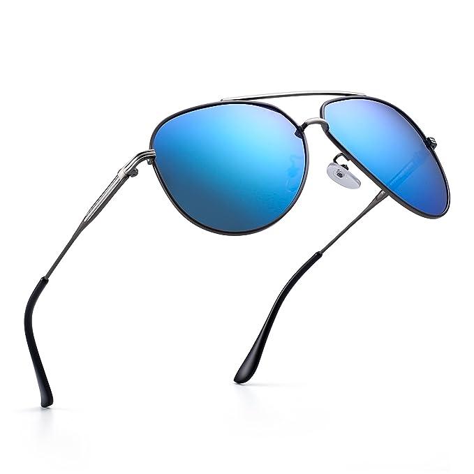 Polarizadas Aviador Gafas de Sol Clásico de Metal Conducir Piloto Anteojos Hombre Mujer(Gunmetal/