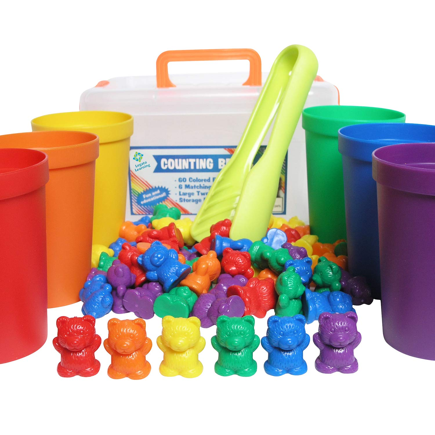 Legato Counting/Sorting Bears; 60 Rainbow Colored Bears, 6 Stacking Cups, Kids Tweezers, Storage Container, and Activity eBook. Quality Educational Toy, Good for STEM and Montessori Programs. by Legato Learning