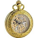 (シボサン) ブランド 機械式 手巻き 懐中時計 ゴールド ルーペ付きトランスル 拡大鏡 カバー 設計 男性 チェーン ギフト ボックス SIBOSUN