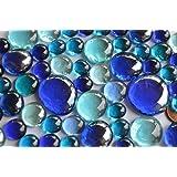 118g. Glasnuggets Blaumix, 4 versch. Größen 1-3 cm Deko Steine ca. 52 St.