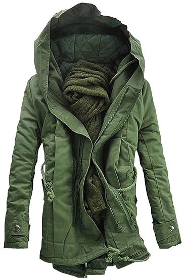 Digerla Mens Stylish Thicken Cotton Winter Jacket Hooded Warm Coats Outwear