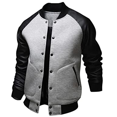 EDC-OnSale Cool College Baseball Jacket Men New Fashion Design Black PU Leather Sleeve Mens