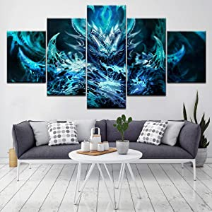 Luck7 5 Pieces Wall Art Dark Demon Horror Painting on Canvas Stretched and Framed Canvas Paintings Ready to Hang for Home Decorations Wall Decor-150x80cm