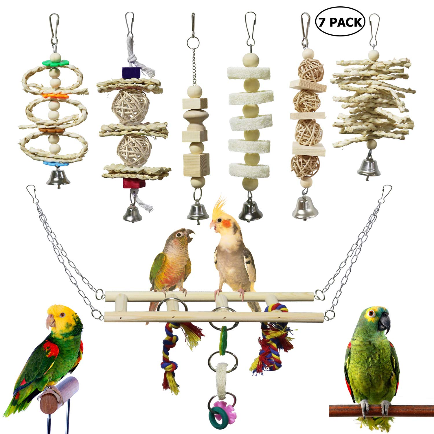 BWOGUE 7 Packs Bird Parrot Toys Natural Wood Chewing Toy Bird Cage Toys Hanging Swing Hammock Climbing Ladders Toys for Small Parakeets, Cockatiels, Conures, Finches,Budgie, Parrots, Love Birds by BWOGUE