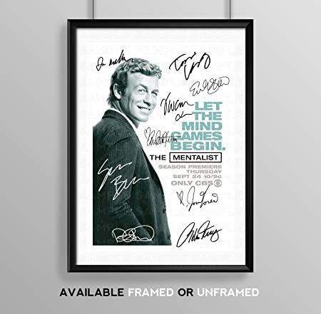 The Mentalist Full Cast Signed Autograph Signature A4 Poster Photo Print Photograph Artwork Wall Art Picture