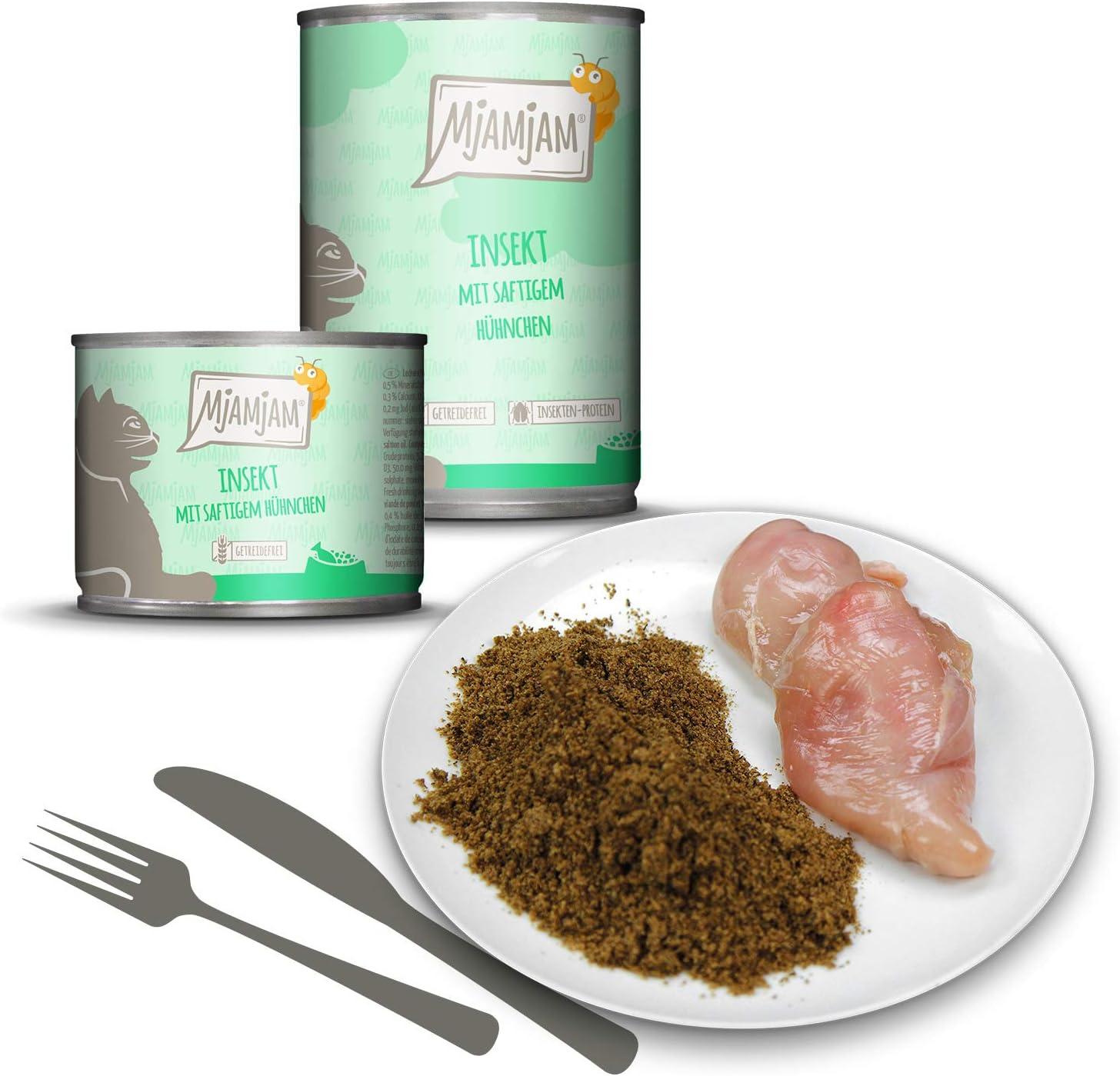 MjAMjAM - Pienso acuoso para Gatos - Insectos con Pollo jugoso - Sin Cereales - 6 x 200 g