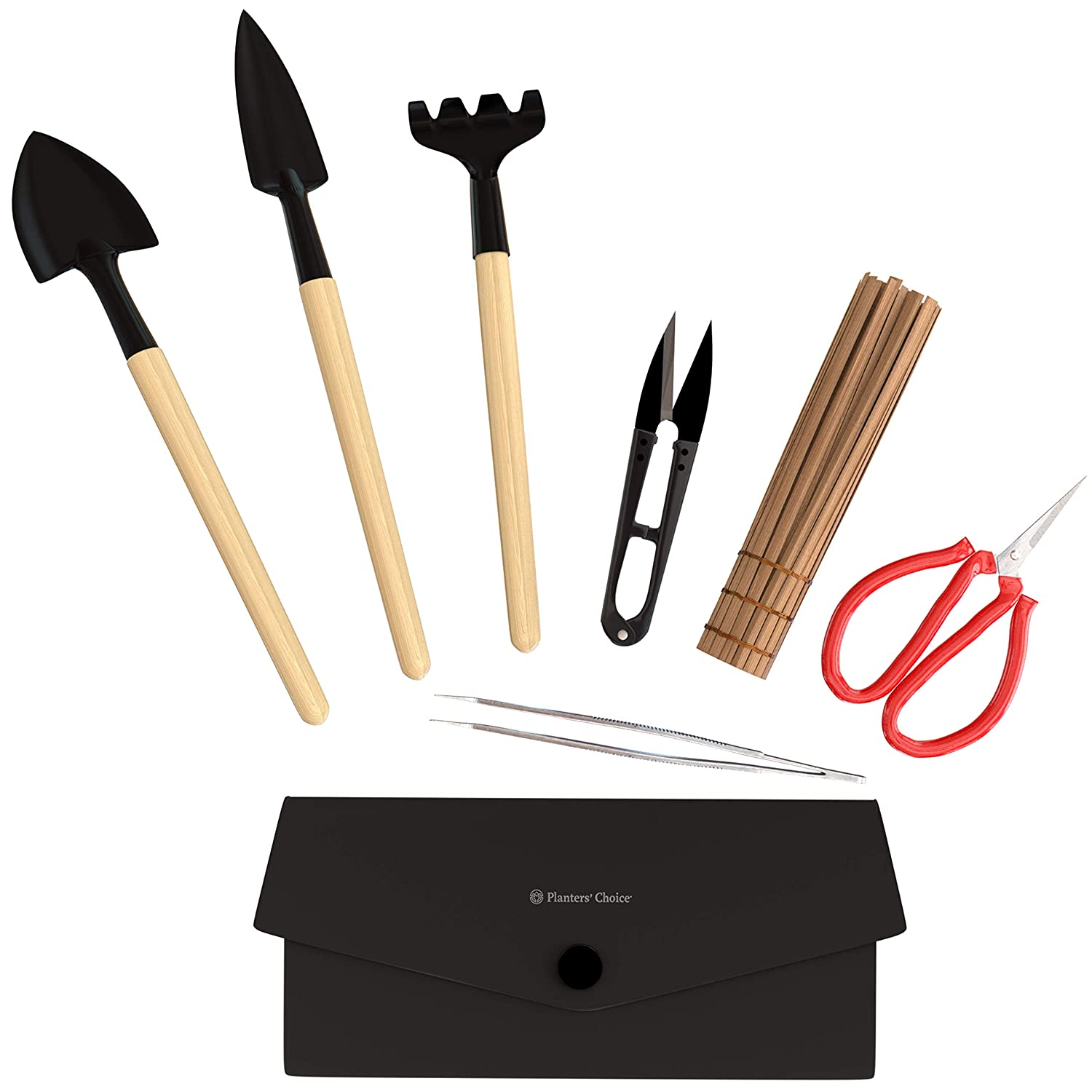 Bonsai Tool Kit Deluxe - Includes: Wooden Rake, Long & Wide Spades, Scissors, Tweezers, Bamboo Brush, and Pruning Shears (Trimmer/Clipper) in Storage Holder | Bonsai Tools Accessories