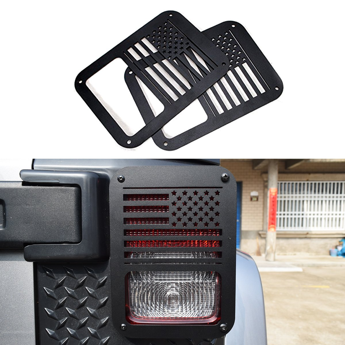 Black Dog Paw Stainless Steel Guard Light Cover Kit for Jeep Wrangler JK JKU Unlimited Rubicon Sahara X Off Road Sport Exterior Accessories Parts 2007-2017 4x4Force