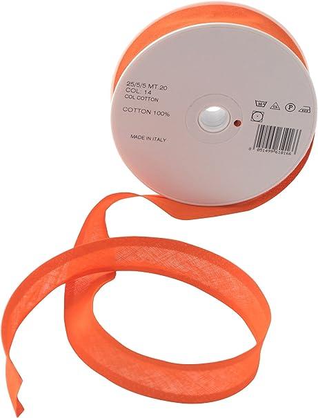 Inastri - Cinta bies de algodón, 25/5/ 5 mm, Color Naranja: Amazon.es: Hogar