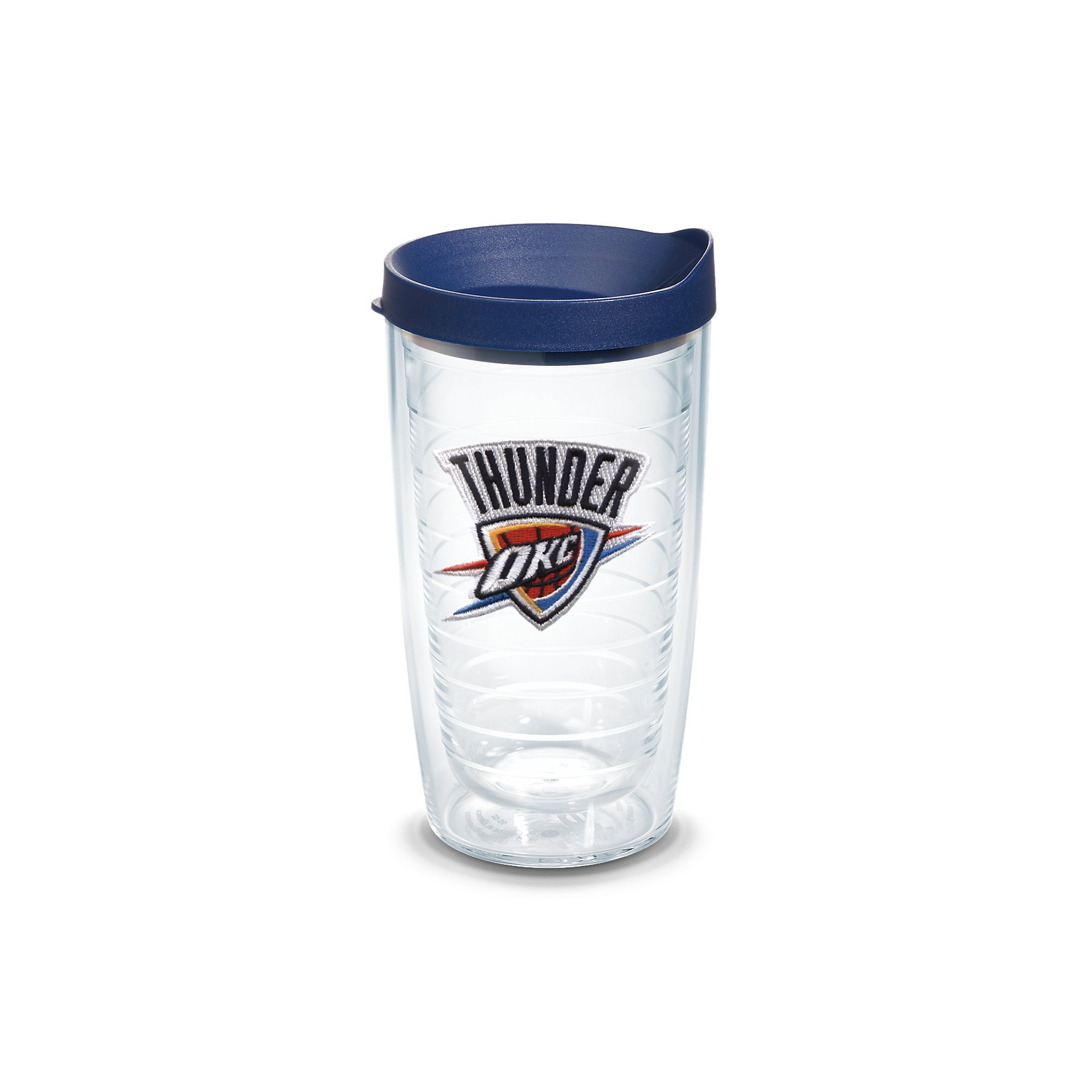 Tervis 1051603 NBA Oklahoma City Thunder Primary Logo Tumbler with Emblem and Navy Lid 16oz, Clear