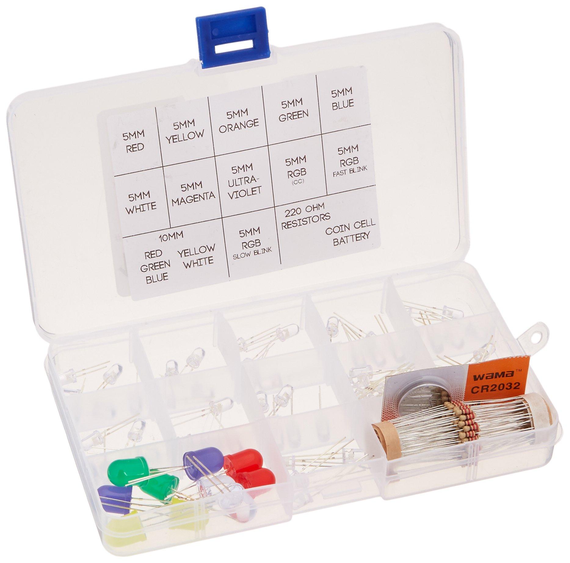 16Hertz Ultimate LED Kit - 65 pcs - 5mm, 10mm, RGB, Red, Blue, Green, White, Magenta, Orange, UV, Fast & Slow Blinking, Coin Cell Battery and Resistors for Arduino & Raspberry pi