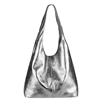 OBC Made IN Italy Damen Leder Hand Tasche METALLIC Shopper Schultertasche Hobo Bag Henkeltasche Beuteltasche Silber (Anthrazit Metallic)