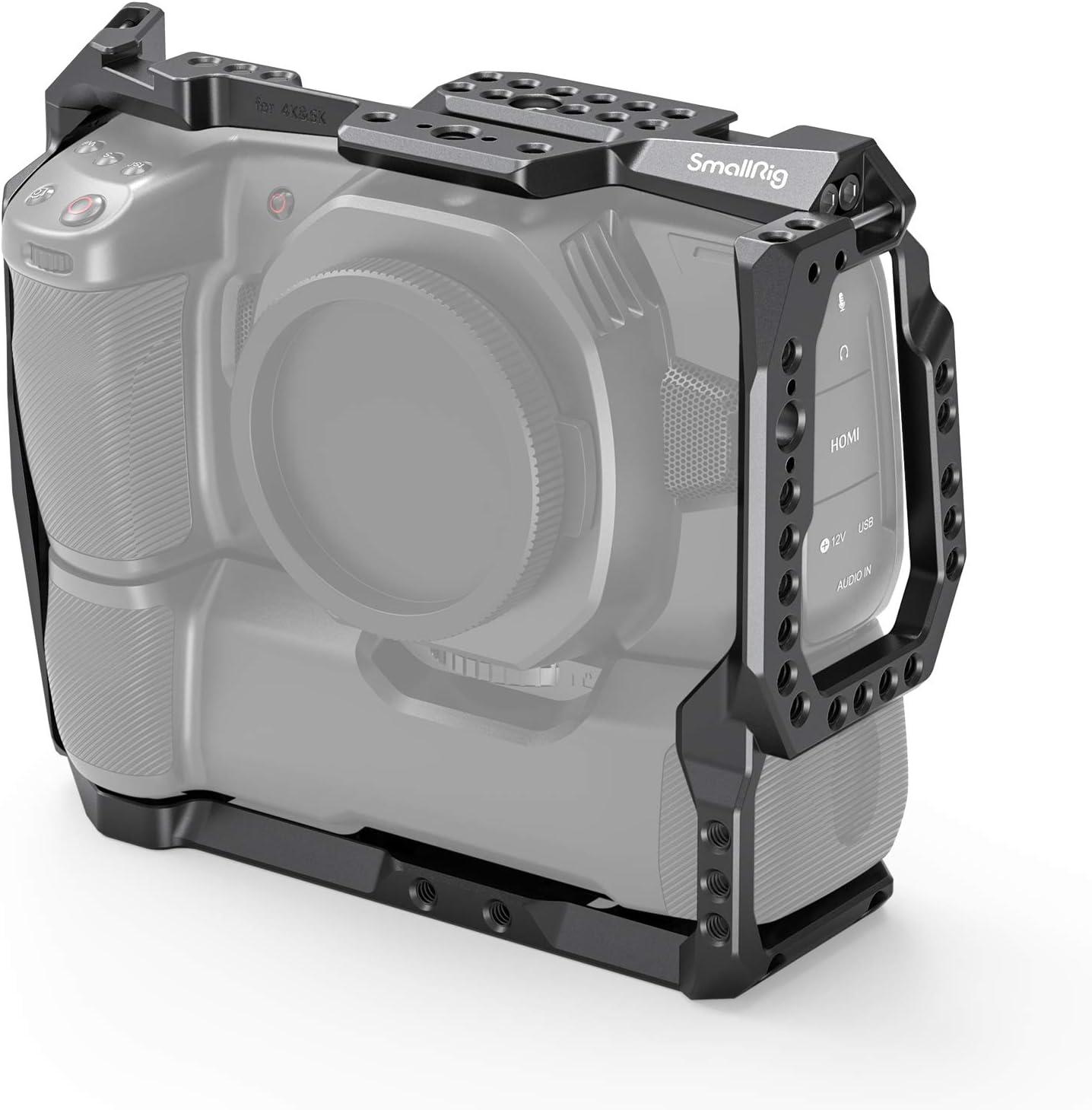 Amazon Com Smallrig Bmpcc 4k 6k Cage For Blackmagic Design Pocket Cinema Camera 4k 6k With Battery Grip Attached 2765 Camera Photo
