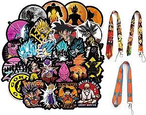 100Pcs Anime DBZ Stickers Set,Cartoon Waterproof Skateboard Stickers Goku Laptop Stickers with 3Pcs Key Chain Lanyards,Super Z Stickers for Water Bottles