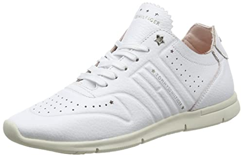 a21bdcab20e72e Tommy Hilfiger Women s Leather Light Weight Low-top Sneakers White (White  100) 7.5