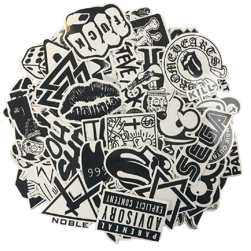 120 Stü ck schwarzer weiß er Vinylaufkleber Graffiti-Abziehbild EVINIS EXPSFD009428