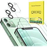 """QHOHQ 3 Pack Screen Protector for iPhone 12 6.1"""" with 2 Packs Camera Lens Protector, HD Full Screen Tempered Glass Film, 9H H"""