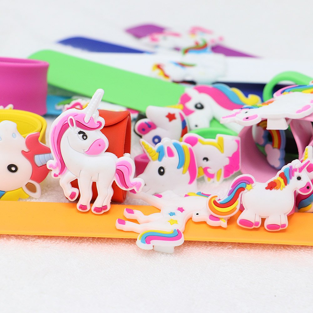 VAMEI 22 PCs Slap Bracelets Unicorn Rings Bracelets Rubber Toys Wristband Slap Bands Birthday Party Favors Supplies for Teens Girls Boys Kids by VAMEI (Image #2)