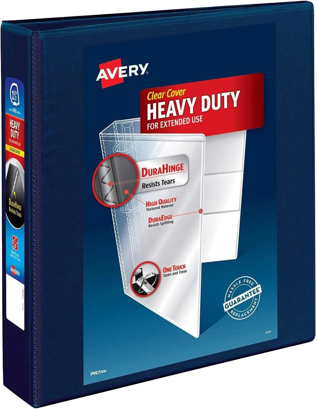 """Avery Heavy Duty View 3 Ring Binder, 1.5"""" One Touch EZD Ring, Holds 8.5"""" x 11"""" Paper, 1 Navy Blue Binder (79805) : Office Products"""