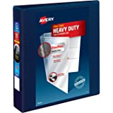"""Avery Heavy Duty View 3 Ring Binder, 1.5"""" One Touch EZD Ring, Holds 8.5"""" x 11"""" Paper, 1 Navy Blue Binder (79805)"""