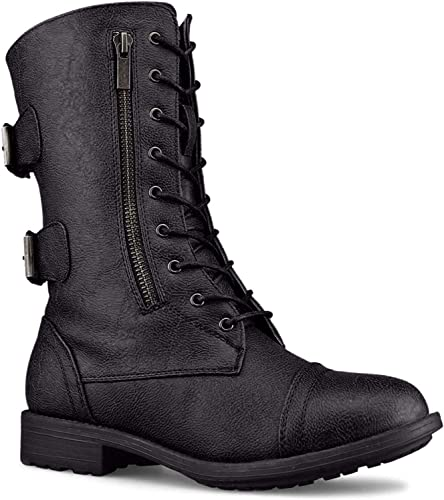 reasonable price sale sports shoes Top Moda Women's Pack-72 Lace Up Combat Boot