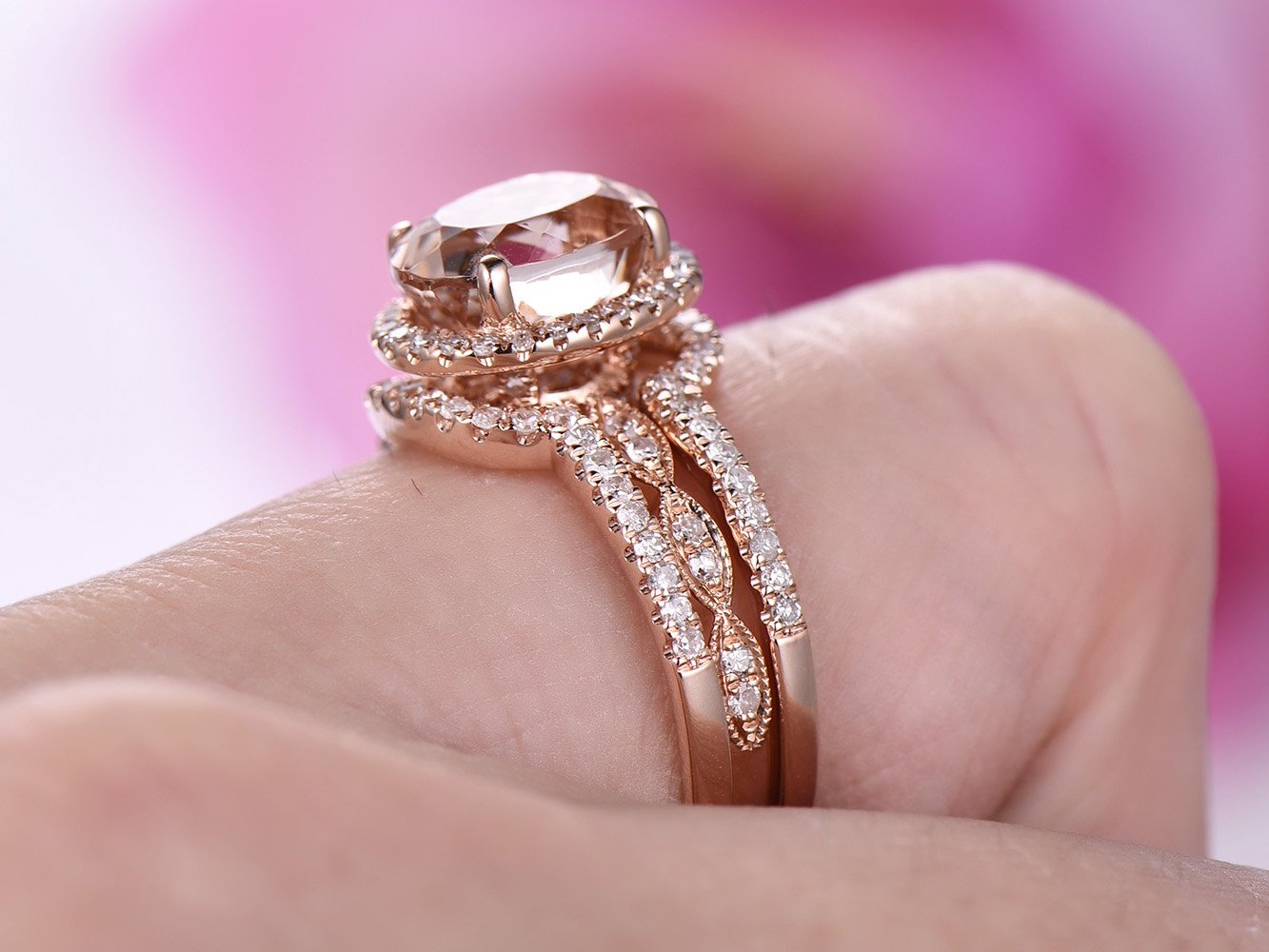 Amazon.com: Oval Morganite Engagement Ring Bridal Set Contoured ...
