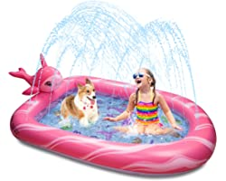Aywewii Sprinkler Pool for Kids, Narwhal Toddler Outdoor Toys Splash Pool for Toddlers Baby Pools for Outside Backyard Summer