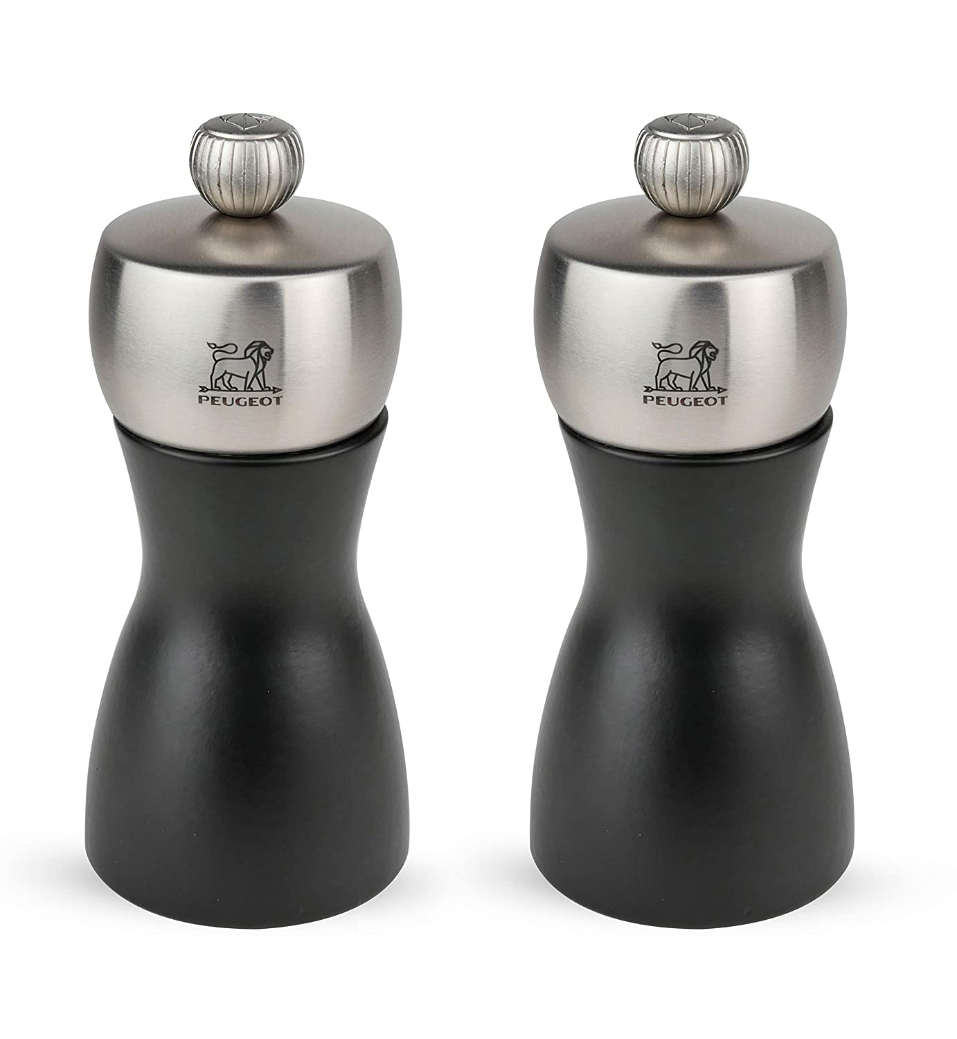 Peugeot Fidji Stainless Steel Salt and Pepper Mill Set, 12cm/4 3/4-Inch, Black Matte
