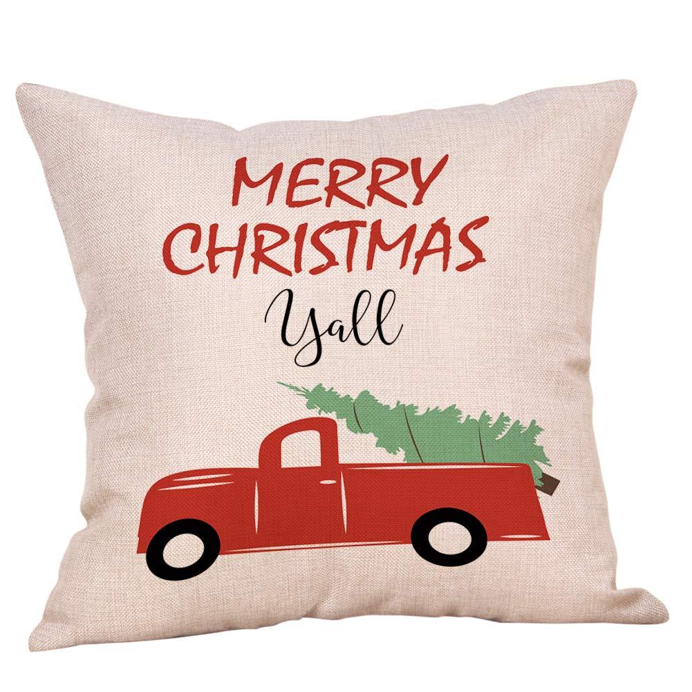 Softxpp Merry Christmas Yall ビンテージ 赤いトラック 木のスローピローカバー 冬の休暇の装飾クッションカバー ソファーのカウチの装飾に 18インチ x 18インチ コットンリネン   B07JZSSFHH