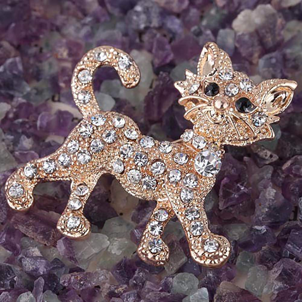 Yliquor 1PC Crystal Cat/Brooch Pin/Exquisite Cardigan Collar Clips Dress Shirt Brooch Clips for Couple/Memorial Jewelry Love Gifts