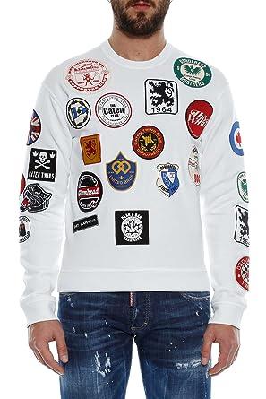 Dsquared2 Homme S71gu0171s25030100 Blanc Coton Sweatshirt  Amazon.fr ... d1f0cd8aeae