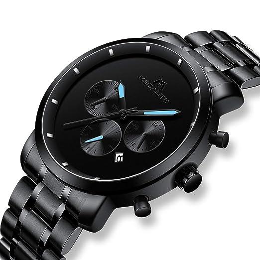 Relojes Negro Hombre Reloj de Pulsera Militar Deportivo Impermeable Grandes Cronógrafo de Acero Inoxidable Reloj para Hombres Lujo Moda Analógico Negocios ...