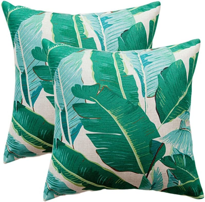 ULOVE LOVE YOURSELF Pack of 2 Banana Leaves Pillow Covers Cotton Linen Tropical Palm Leaves Cushion Covers Square Decorative Pillowcases 18×18 Inch for Sofa,Couch,Bed,Patio(Green Leaves-2)