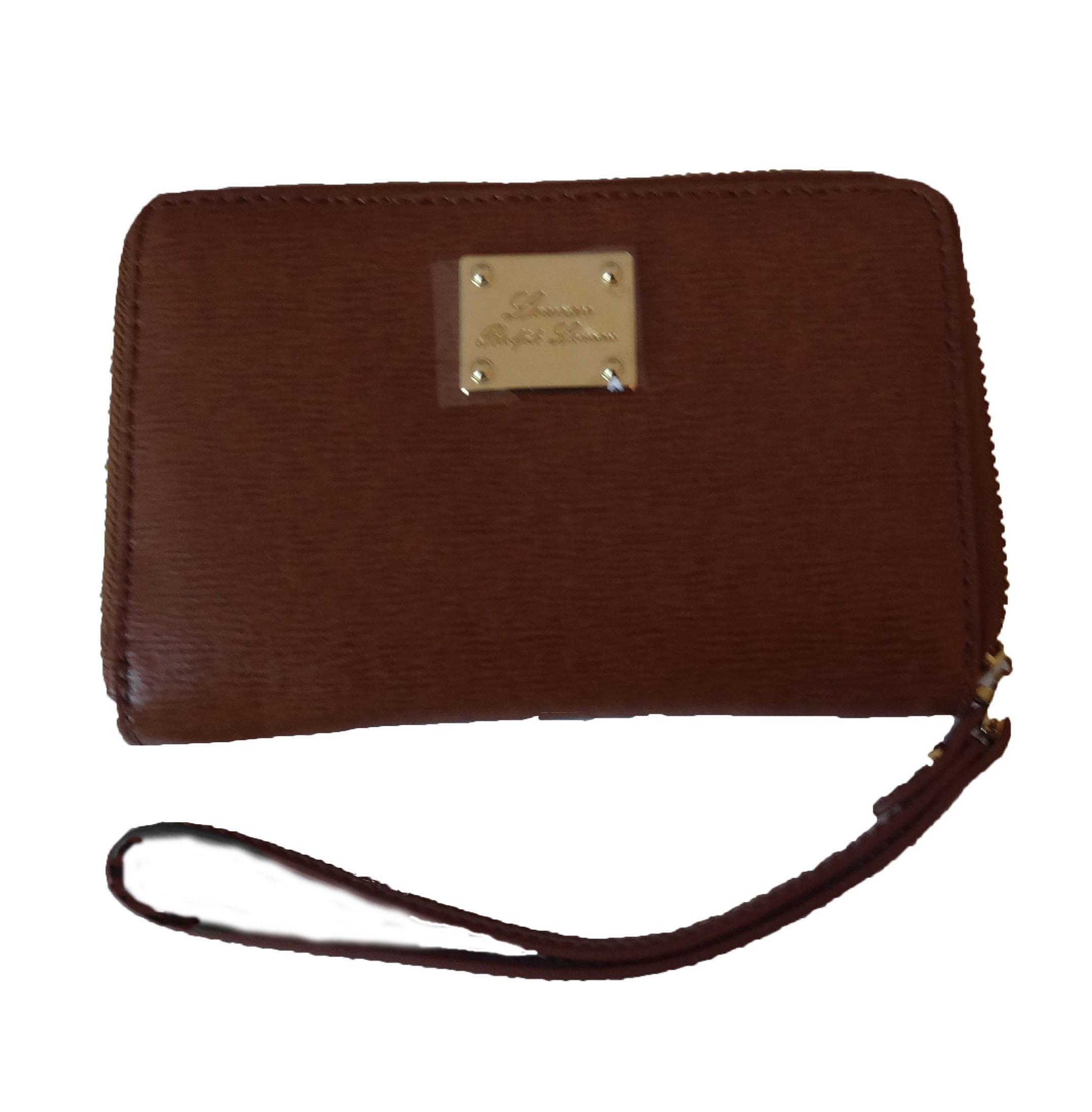 Lauren Ralph Lauren Woman's Leather Zip-Around Tech Wristlet/Wallet (Light Tan/Coco)
