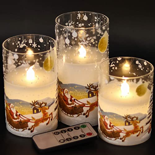 Eldnacele Santa Claus Glass Flameless Candle with Remote Timer Battery Operated Flickering LED Pillar Candles 3 Pack Warm White Light Christmas Decal Candles Set of 3 D3 x H 4 5 6 Santa Sleigh