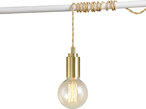 BRIGHTTIA Brushed Gold Plug-in Simple Top Hanging Pendant Light – Modern Minimalist Swag Lighting for Apartments and Dorms – 15Ft Twisted Fabric Cord – Industrial Exposed Bulb Design BP0005-1GP