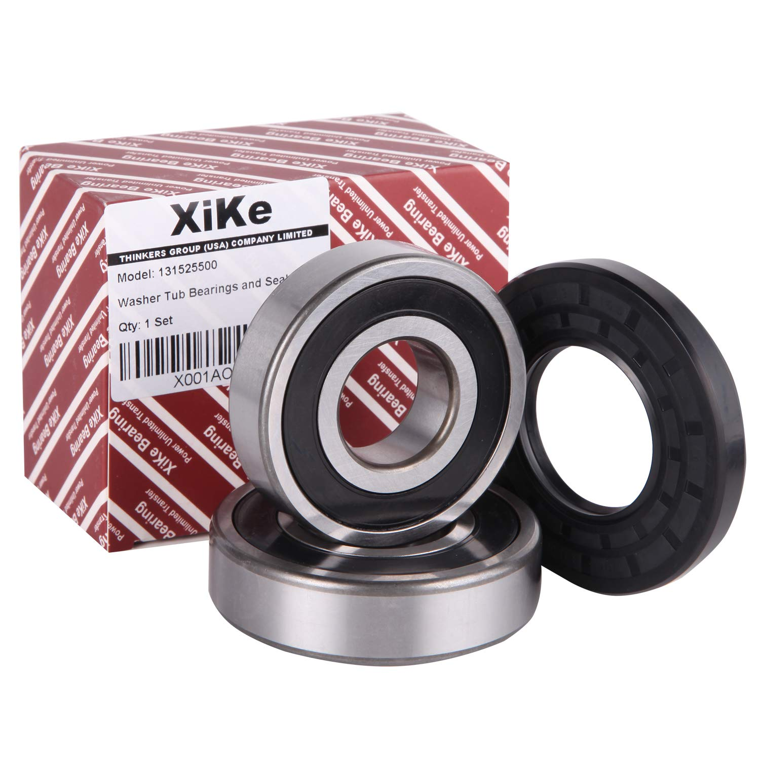XiKe 131525500 Front Load Washer Tub Bearing & Seal Kit, Rotate Quiet and Durable Replacement for Kenmore, Frigidaire, GE, 131275200, 131462800, 407639, AP2578105, B018HFK0A4 Etc.