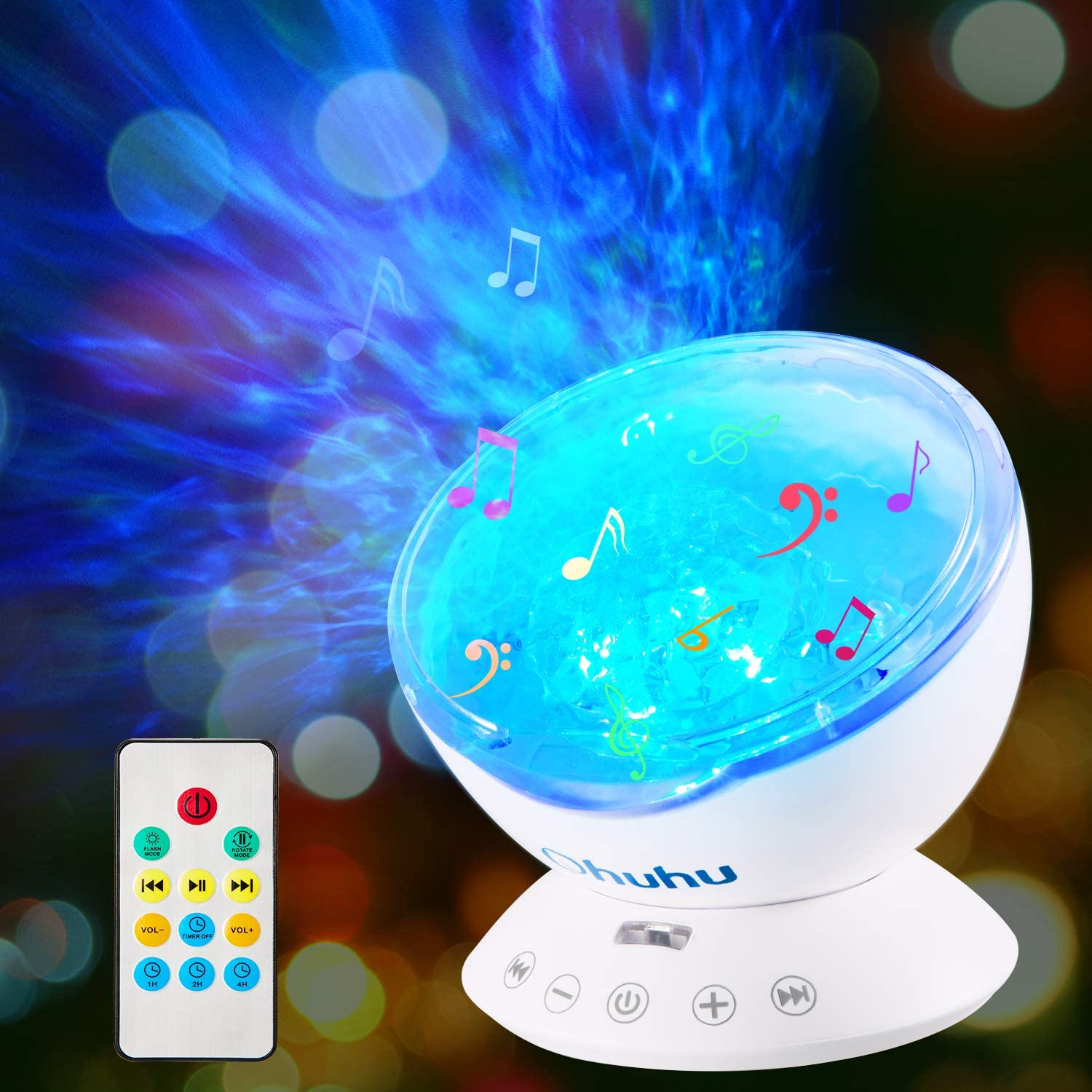 Ocean Wave Projector, Ohuhu Night Light Projector, 12 LED 7 Colors Changing, Night Light for Kids, Undersea Projector Lamp for Kids Gifts Bedroom Living Room Decoration