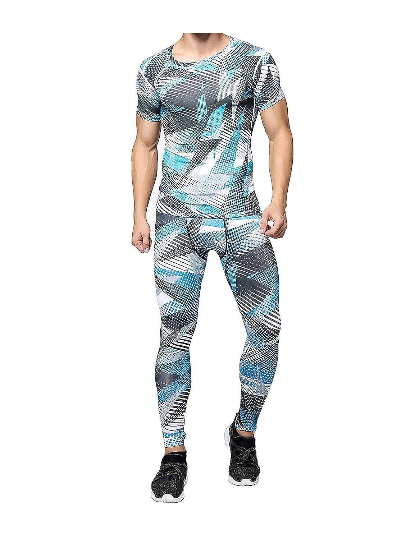 Yuntown Mens Sport Clothing Set Compression Tights T-Shirt Fast Dry Tops Pants