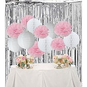 Babyparty Madchen Geburtstagsdeko Madchen Weiss Rosa Pompons Blumen