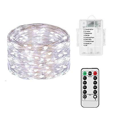 LED String Lights 3AA Battery Powered 16.4ft with 50 LEDs (Cool White Color) Dimmable with IR Remote Control Waterproof Outdoor Wedding Party Decorative Light: Home & Kitchen