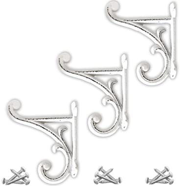 Set of 3 Rustic White, Cast Iron, Double Wall Mounted Hooks with mounting screws, Vintage Inspired, Perfect for Coats, Bags, Hats, Towels, Scarfs and more by My Fancy Farmhouse (Ornate, Rustic White)