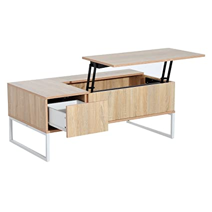 Coffee Table Extendable Top.Homcom 43 Modern Lift Top Coffee Table Desk With Storage Golden Woodgrain