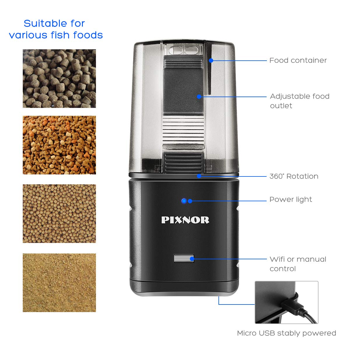PIXNOR Automatic Fish Feeder Fish Food Dispenser Digital Feeding Unit for Aquarium Fish Tank (WiFi APP Remote Control and USB Powered) by PIXNOR (Image #2)