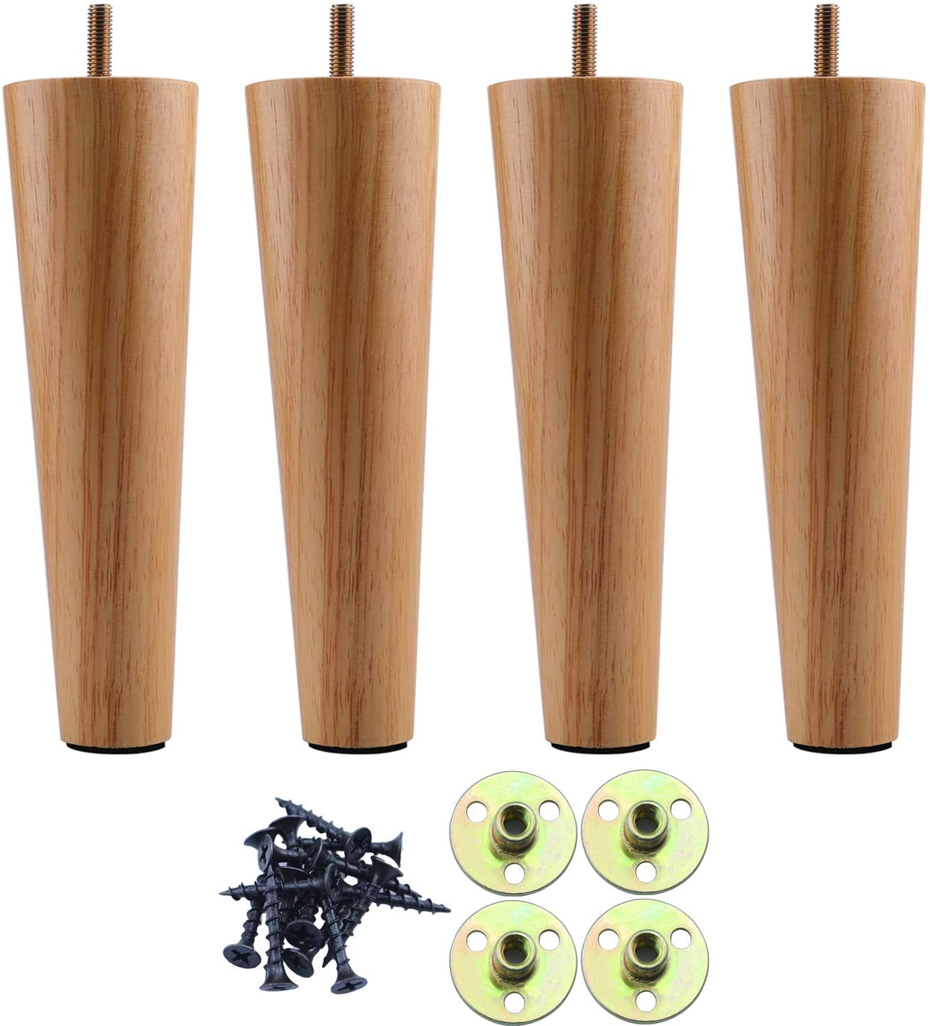 Round Solid Wood Furniture Feet Sofa Legs 6 inch, Natural Wood Couch Legs, Replacement Legs for Armchair, Cabinet, Chair, Mid Century Modern Dresser Or Home DIY Projects Bun Feet