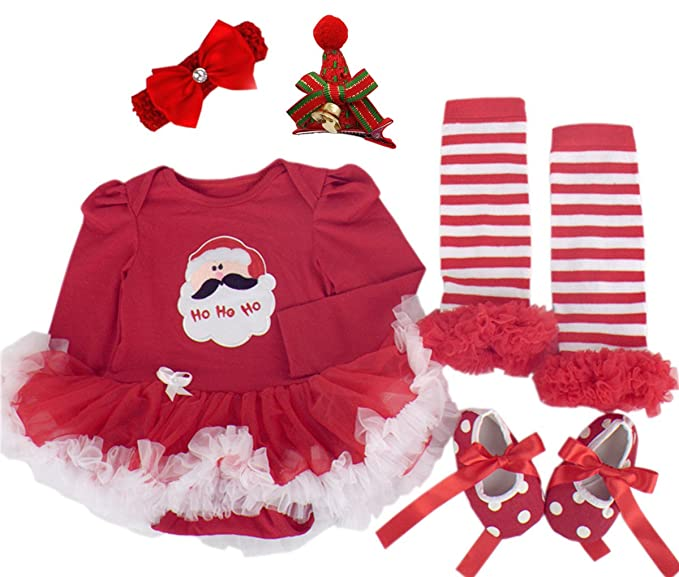 988779d4bcca Amazon.com: Baby Girls Christmas Outfit Newborn Infant My First Christmas  Tutu Dress Set 5PCs (Meduim (6-9 months), Red (Long Sleeve 5PCs)): Clothing