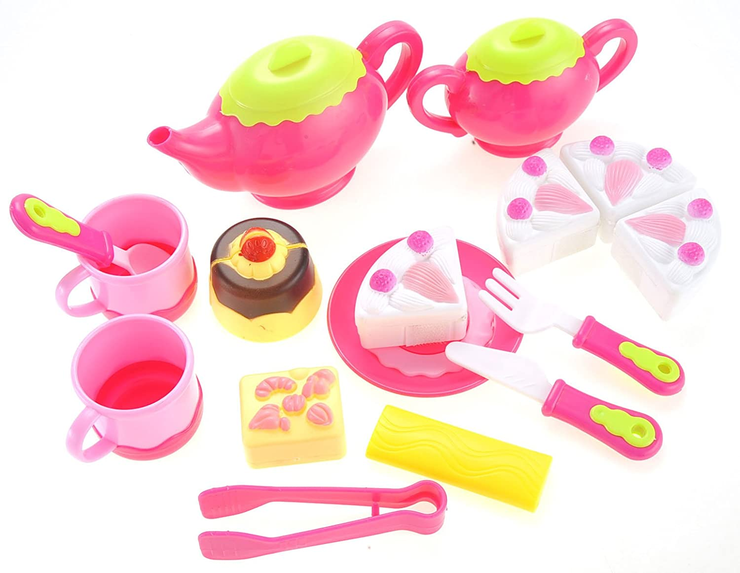 Pink Teapot Play Kitchen Accessories Gift for Kids Cuttable Play Cake PowerTRC Pretend Tea and Dessert Play Set Toy Plates and Utensils